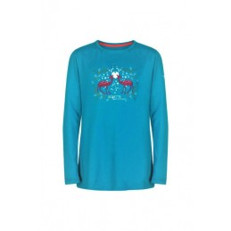 Long-sleeved turquoise...